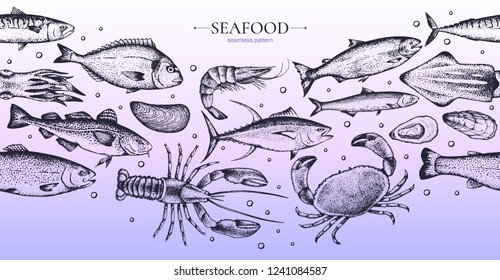 Seamless pattern with different seafood: lobster, crab, dorado, tuna, shrimp, codfish, mackerel, oyster, mussel, tuna, salmon and anchovy. Isolated on background. Vector. Hand-drawn.