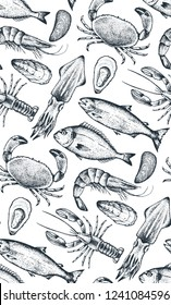 Seamless pattern with different seafood: lobster, crab, dorado, tuna, shrimp, codfish, mackerel, oyster, mussel, tuna, salmon and anchovy. White background. Vector. Hand-drawn.