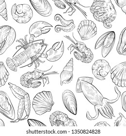 Seamless pattern of different seafood products, vector