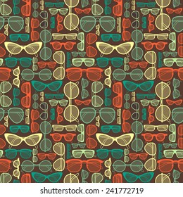 Seamless pattern with different shapes glasses in vintage style