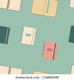 Seamless pattern with different size diary,notebook,exercise book,scratchpad flat style isolated.Back to school concept.Colorful pastel vector icon.Open and closed notebooks.Print for clothes,website