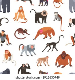 Seamless pattern with different species of monkeys apes, baboons, chimpanzees and macaques. Endless backdrop with tropical jungle animals. Colorful flat vector illustration on white background