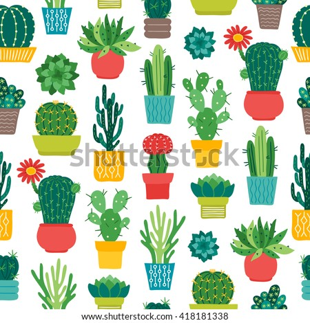 Seamless Pattern Different Succulents Pots Perfect Stock Vector