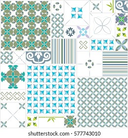 seamless pattern with different tiles
