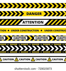Seamless pattern of different types of danger, warning or security tape.