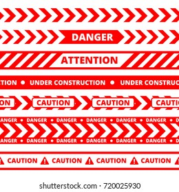 Seamless pattern of different types of danger, warning or security tape. vector red pictures