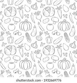Seamless pattern with different vegetables. Black-and-white hand-drawn linear elements with an outline are isolated on transparent background. For the design of kitchen accessories and food packaging