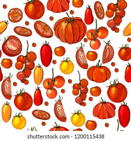 Seamless pattern with different vegetables on white. Slices of tomato, tomato cherry.
