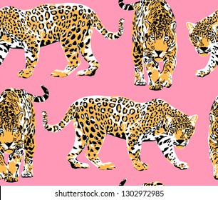 Seamless pattern with a different wild leopards on a pink background. Textile composition, hand drawn style print. Vector illustration.