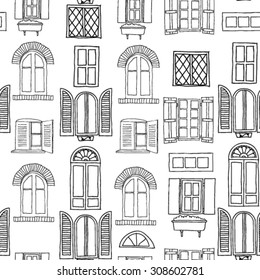 Seamless pattern with different windows.