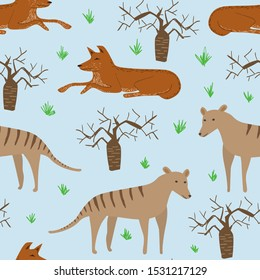Seamless pattern of dingo dog, tasmanian wolf and boab tree. Australian repeatable textile vector childish design.