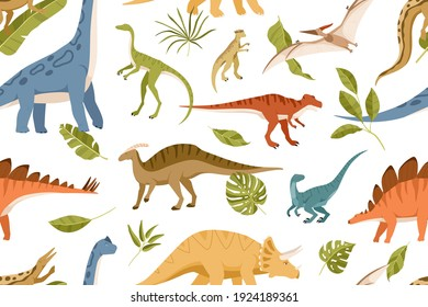 Seamless pattern with dinos and leaves on white background. Kids design of endless texture of Jurassic park with various dinosaurs. Flat cartoon vector illustration for printing