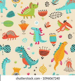 Seamless pattern with dinosaurs