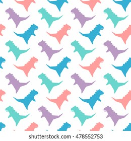 Seamless pattern with dinosaurs silhouette. Vector illustration. Cute colorful background. Funny wallpaper