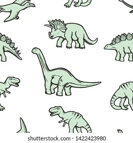 Seamless pattern with dinosaurs. Vector illustration, design of wild animals, reptiles, for printing on fabric, clothing, packaging paper, bedding, printing, postcards. Cute baby background.