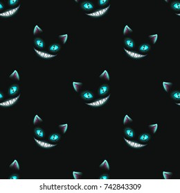 Seamless pattern with disappearing cat faces on black background. Cheshire Cat texture. Vector illustration.