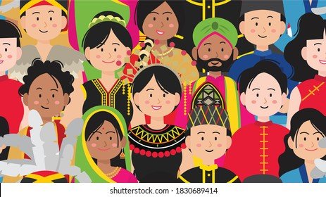Seamless pattern with diverse crowd of Malaysian people.