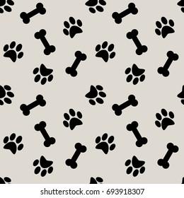 seamless pattern with dog bone, paw.  background