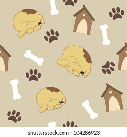 Seamless pattern with dog, doghouse, bones and paw print