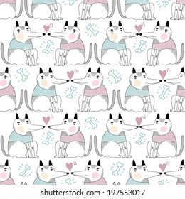 Seamless pattern for dog lovers with dogs and hearts