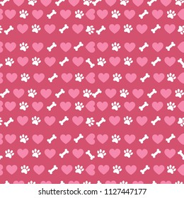 Seamless pattern with dog theme. Hearts and bones and paws