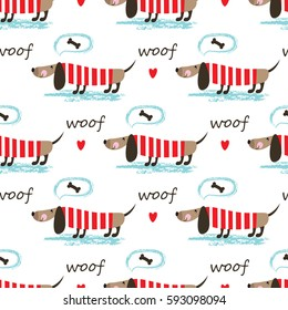 Seamless pattern with dogs, bones and lettering for wrapping paper, scrapbook paper, bedding pattern