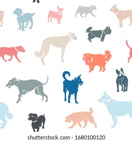 Seamless pattern. Dogs of different breeds