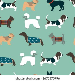 Seamless pattern with dogs on blue background. Vector illustration.