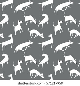 Seamless pattern with dogs. Simple vector style animals. Background with cute pets characters. Vector illustration. Black, grey and white colors