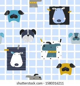 Seamless pattern with dogs. Trendy childish print. VEctor hand drawn illustration.