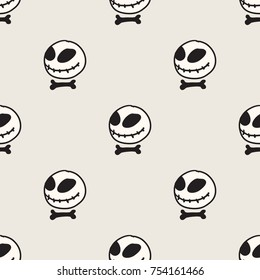 Seamless pattern with doll head skull illustration. Stitched mouth big black-eyed toy. Fantastic repeating doodle character texture. Black and white creative vector background. Cool halloween concept.