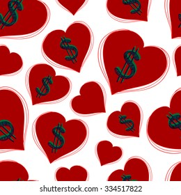 Seamless pattern with dollars and hearts. Vector background.