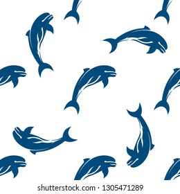 Seamless pattern with dolphin