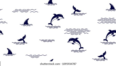 Seamless pattern with Dolphin fin,Dolphin tail, Dolphins. Cute Marine pattern for fabric, baby clothes, background, textile,wrapping paper and other decoration.Vector illustration