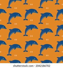seamless pattern dolphin fish animal sea ocean on orange background vector wallpaper textile giftwrap