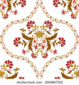 seamless pattern in Domas style. hand-drawn floral vector pattern. botanical domsk ornament for fun fabric and packaging