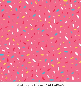 Seamless pattern with donut glaze and sprinkles