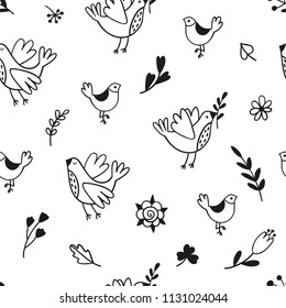 Seamless pattern with doodle birds, branches and flowers. Black and white vector template suitable.