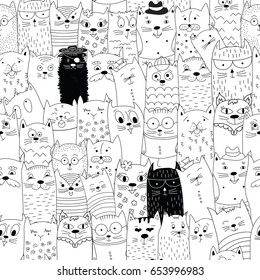 Seamless pattern with doodle cats. Can be used for textile, website background, book cover, packaging.