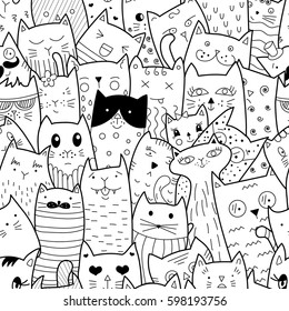 Seamless pattern with doodle cats. Happy friendship day. World animals day. Can be used for textile, website background, book cover, packaging.