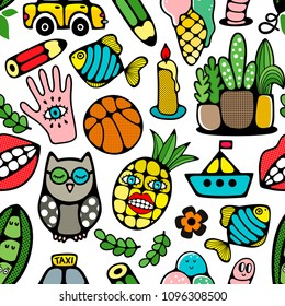 Seamless pattern with doodle characters and objects. Vector style illustration. Colorful wallpaper.