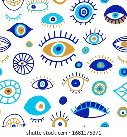 Seamless pattern with doodle drawing evil eyes. Different blue talismans background.