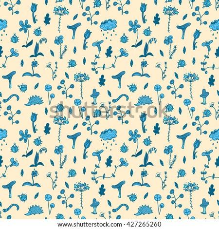 Seamless Pattern Doodle Drawings Nature Beetles Stock Vector