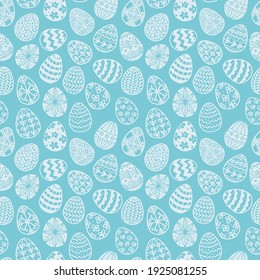 Seamless pattern with doodle easter eggs on blue background. Can be used for wallpaper, pattern fills, textile, web page background, surface textures