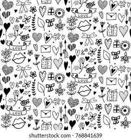 Seamless pattern with doodle elements for Saint Valentines Day or wedding.  Cute simple vector illustration for design of wrapping paper, cards, invitations etc.