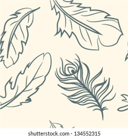 seamless pattern. doodle feather set