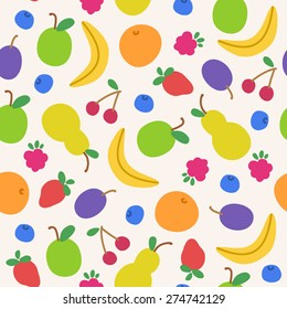 Seamless pattern with doodle fruits