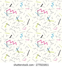Seamless pattern with doodle geometric shapes in 90s style 1