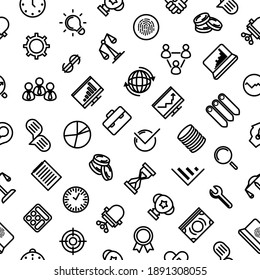 Seamless Pattern Doodle Hand Drawn Business Vector Design Style Background  Money Chart Team People Illustration Cartoon Icons