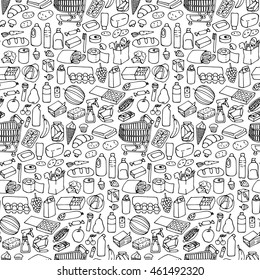 Seamless pattern with doodle hand drawn supermarket elements and objects.